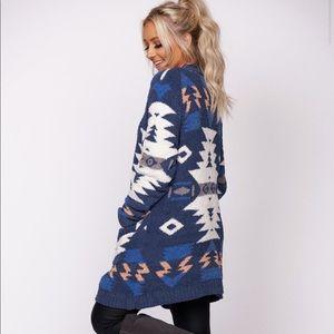 NWT Blue Aztec Tribal Chenille Cardigan Sweater